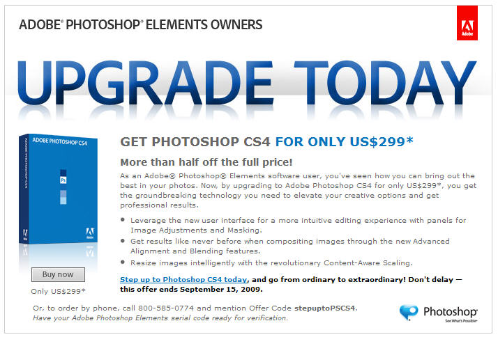 cs4 upgrade Upgrade from Elements to Photoshop CS4 for $299