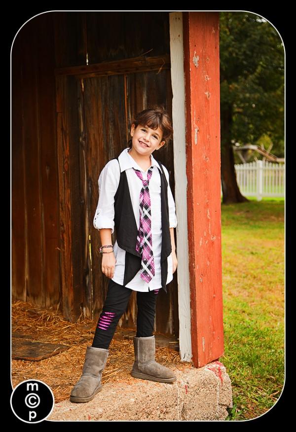 posing at a farm