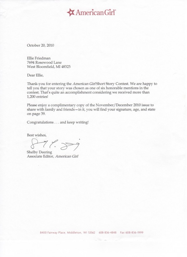 AG letter 600x825 The Holiday Disaster   Award Winning Story by Ellie Friedman, Age 8
