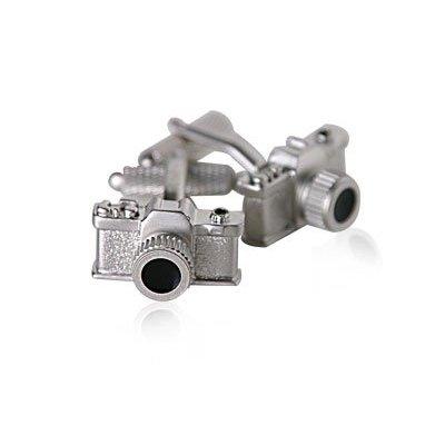 silver camera cufflinks