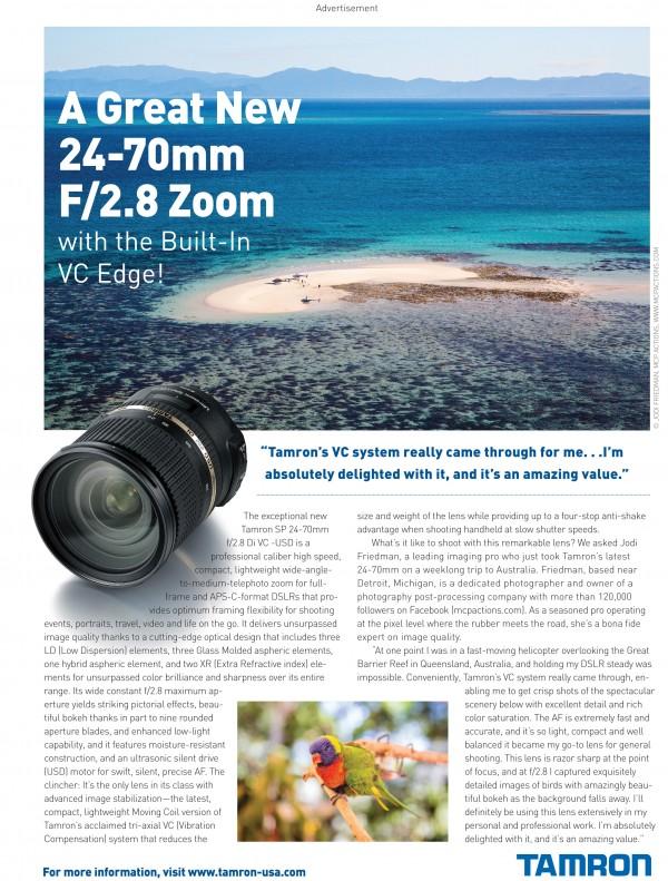 Tamron Ad Sept12 600x791 Contest: Win a Tamron 24 70 2.8 VC Lens for Canon, Nikon, or Sony SLR Cameras