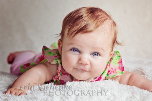 using tummy time to pose a baby