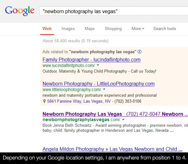 newborngooglerank 600x523 How To Rank In Google Search As A Local Photography Business
