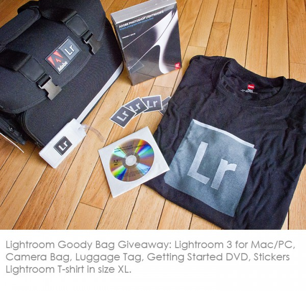 LR Goody Bag 600x570 Win the Coolest Adobe Lightroom 3 Exclusive Goody Bag Prize Package Ever!
