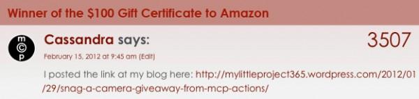 amazon gc winner 600x142 Winner of the Camera Giveaway + Amazon Gift Certificate