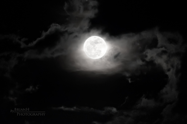 moon with clouds in front