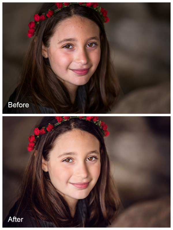 ellie before and after 600x8001 Retouching 101: Learn Basic Photoshop Retouching in Minutes
