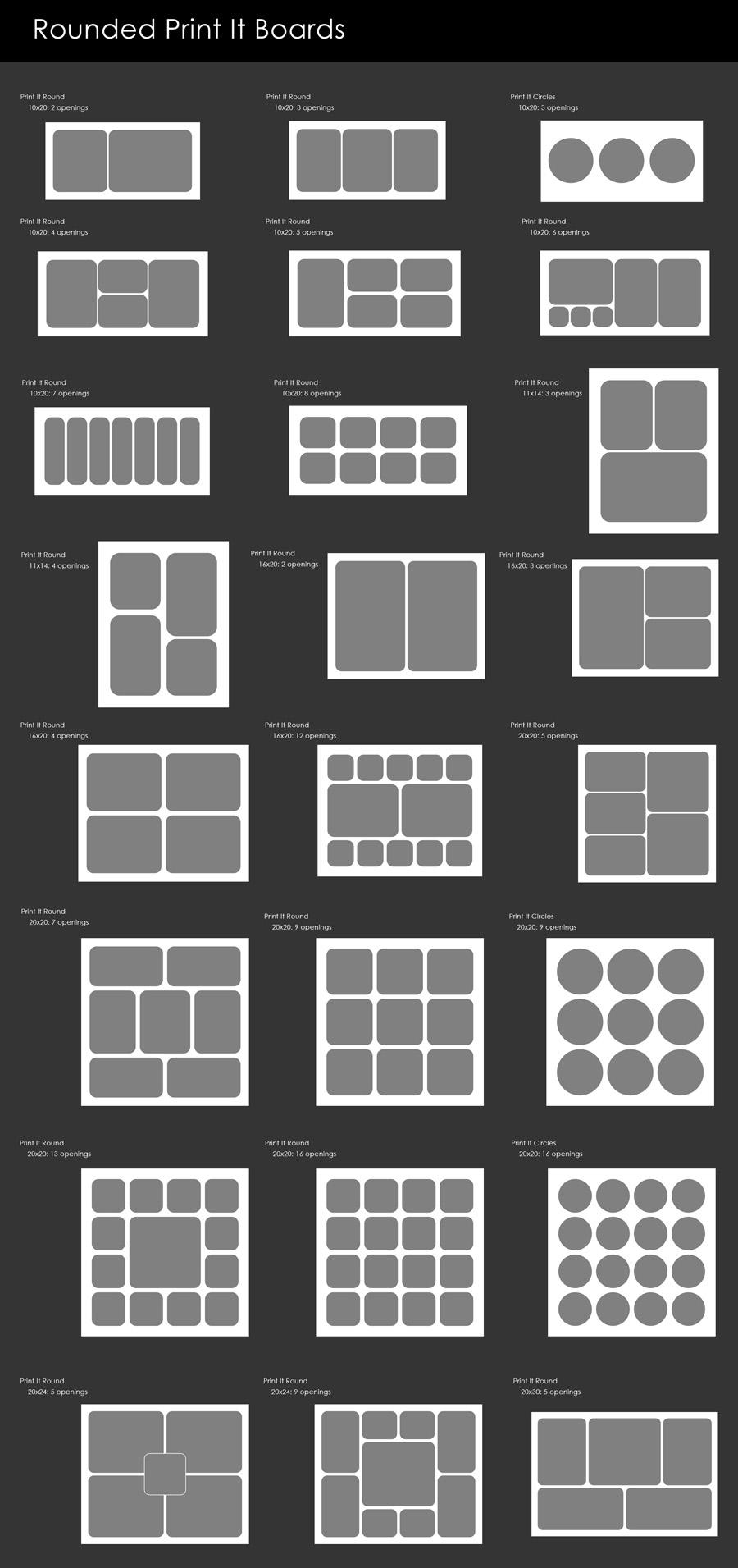 Rounded Templates- Photoshop Actions Package for Photoshop