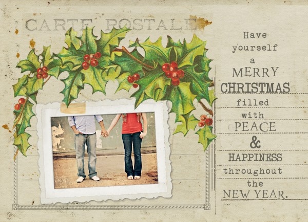 freeback sample 600x434 Free Vintage Postcard Holiday Card Template