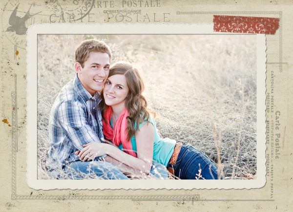 freefront sample 600x434 Free Vintage Postcard Holiday Card Template