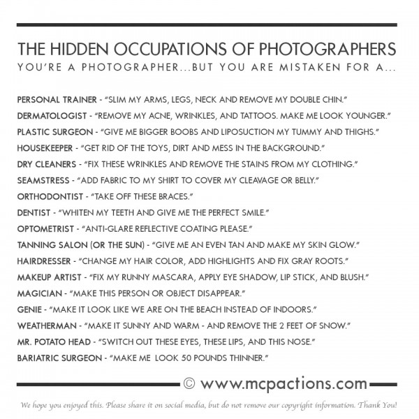 occupations of photographers