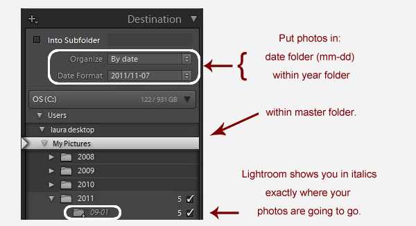 organize by date1 Avoiding a Lightroom Folder Mess    Lightroom Import Basics