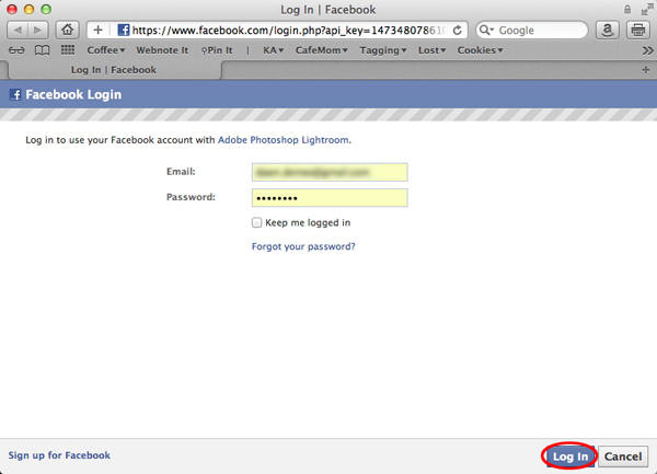 The log in screen to authorize Lightroom publishing on Facebook