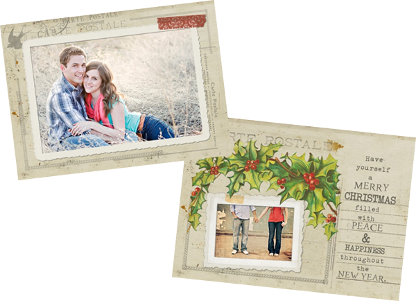 vintage card Free Vintage Postcard Holiday Card Template