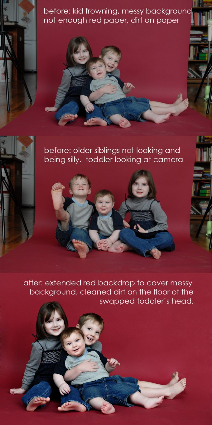 3kid head swap example Photo Makeover | Headswap and Background Fix
