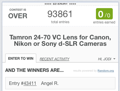 Contest: Win a Tamron 24-70 2.8 VC Lens for Canon, Nikon, or Sony SLR Cameras