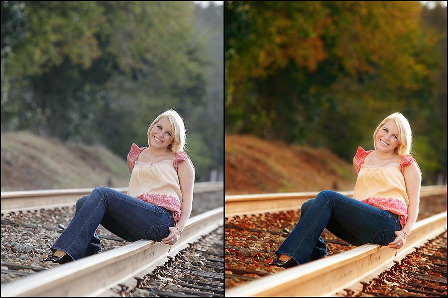 april kuhlmann1 Blueprint: Senior Girl in the Fall on the Tracks {Fan Share}