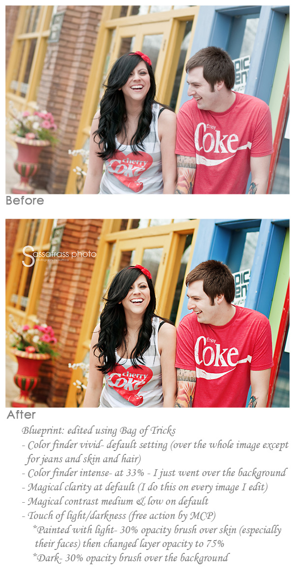 before and after using Photoshop actions