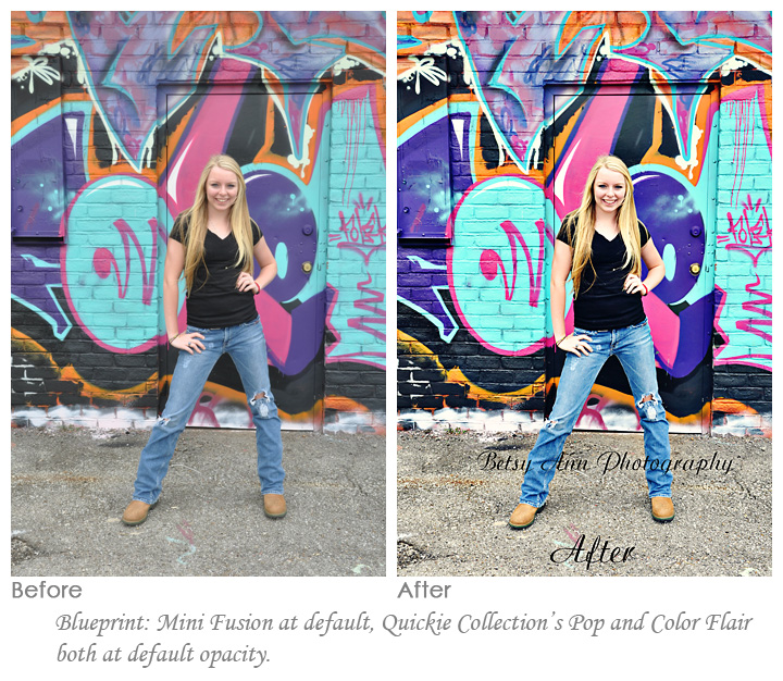 before and after editing with MCP photoshop actions