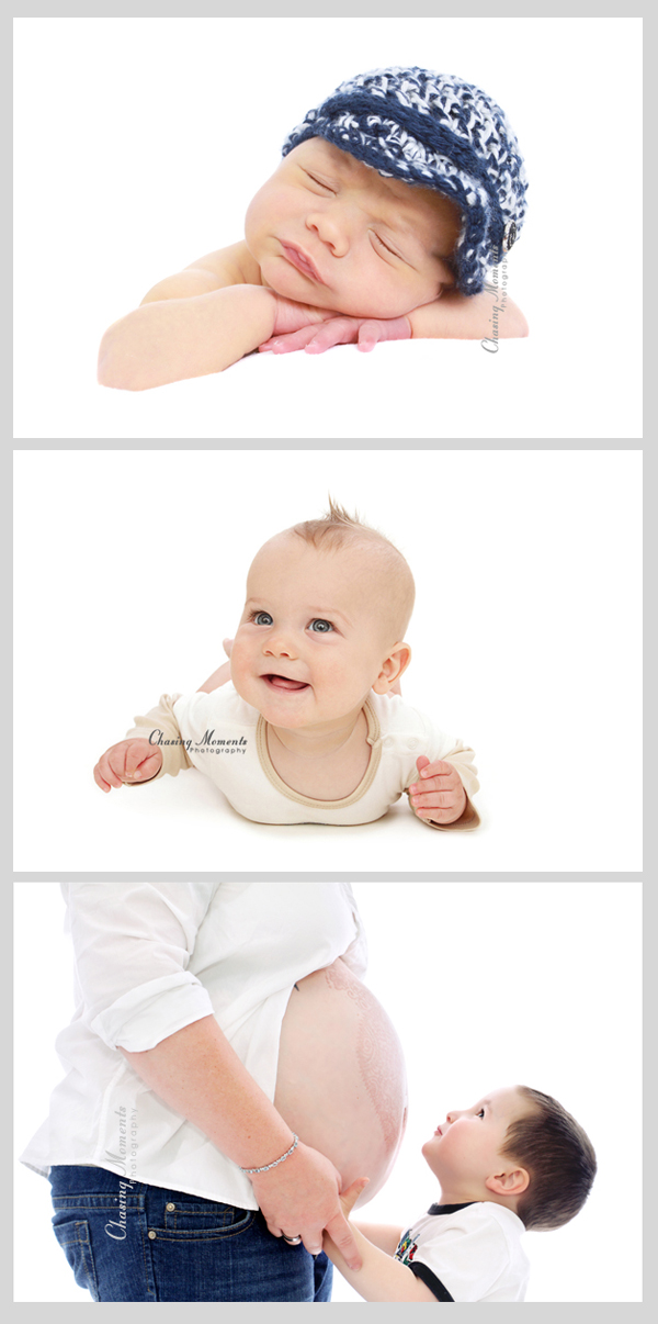 newborn, baby and pregnancy pictures on blown-out white background