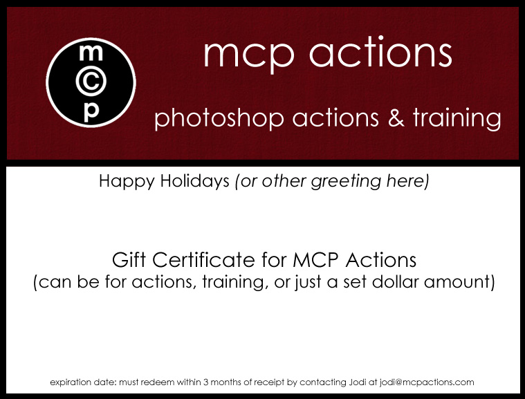 gift certificate Want to give or receive an MCP Actions Gift Certificate for the Holidays?