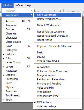 Customizing and saving your workspace in photoshop - MCP