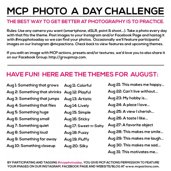 MCP Photo A Day Challenge: August Themes