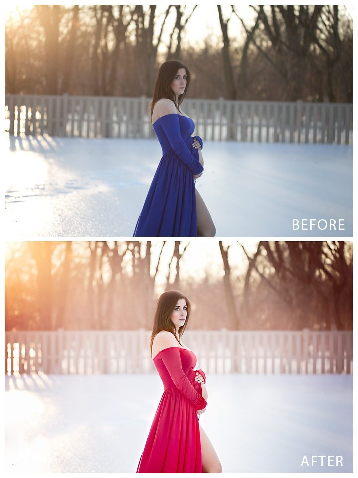 dress color switch before and after