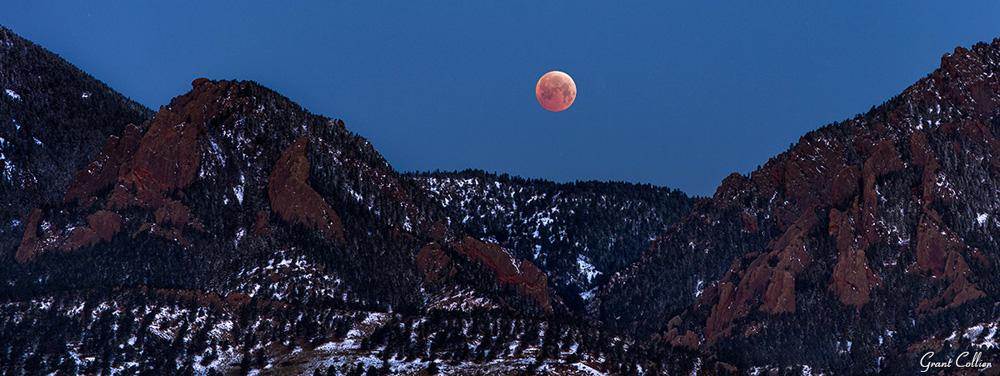 Lunar Eclipse Over Boulder Flatirons
