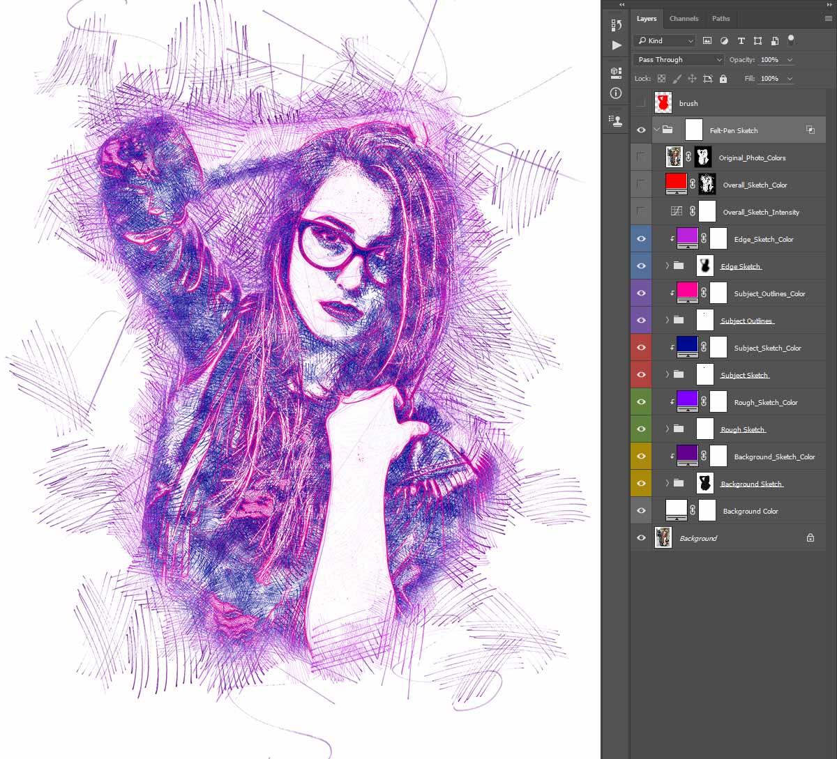 Customizing-the-Effect Felt-Pen Sketch Photoshop Action
