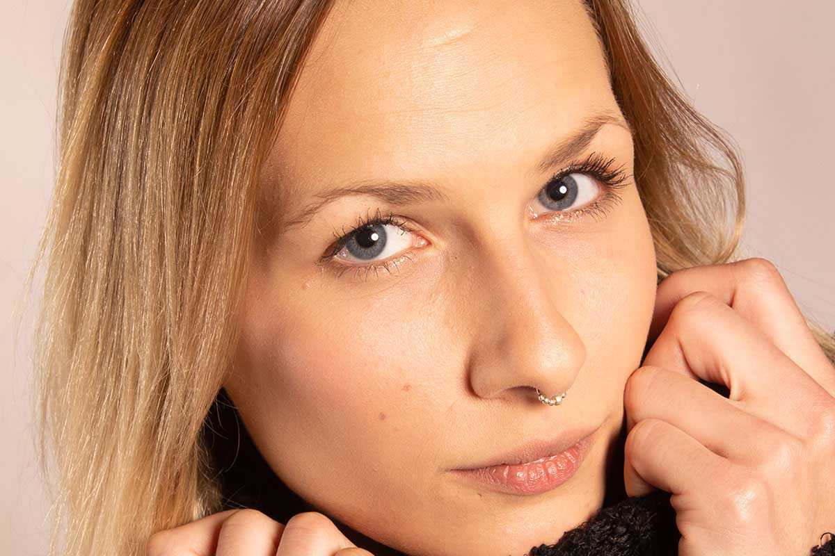 Makeup Toolkit Picture Girl with nose ring No Makeup Sitting Before