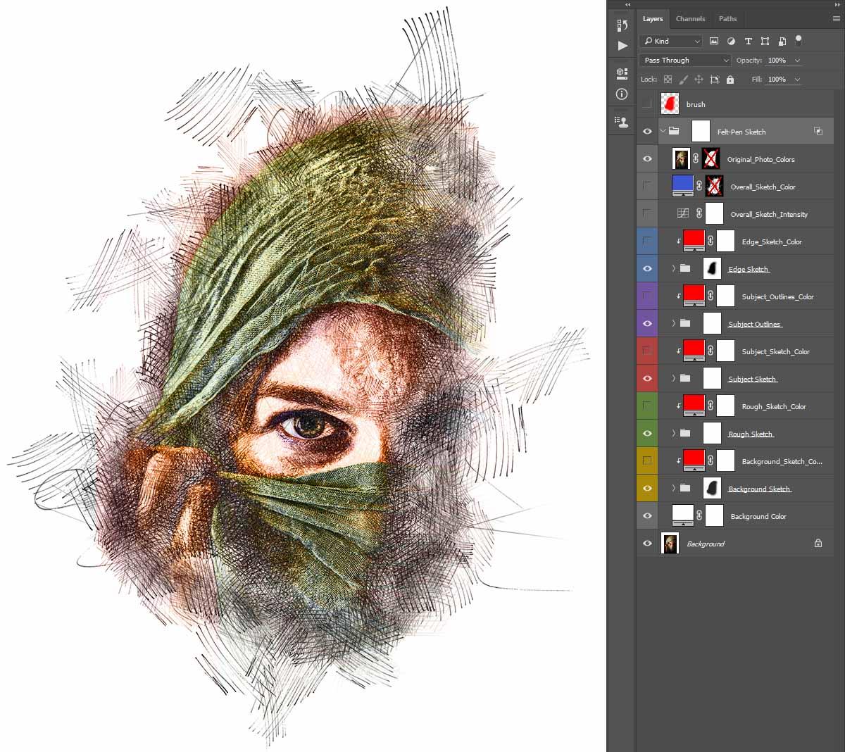 Overall_Sketch_Color Felt-Pen Sketch Photoshop Action