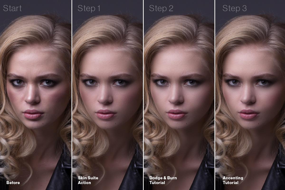 PortraitSuiteProgession Portrait Suite Frequency Separation Photoshop Action