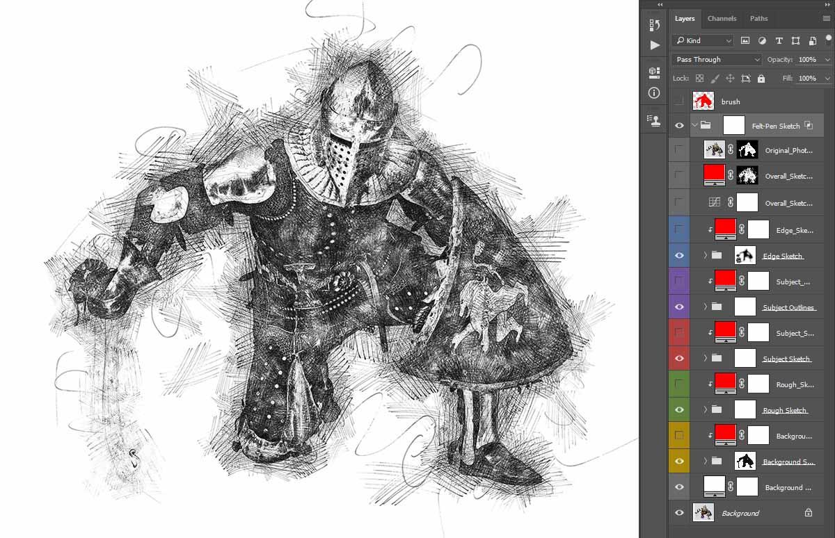 Unlimited-Results Felt-Pen Sketch Photoshop Action