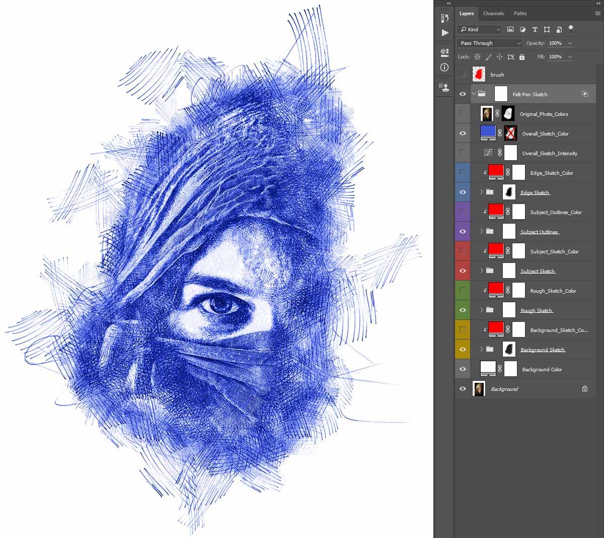 color-fill-layer Felt-Pen Sketch Photoshop Action