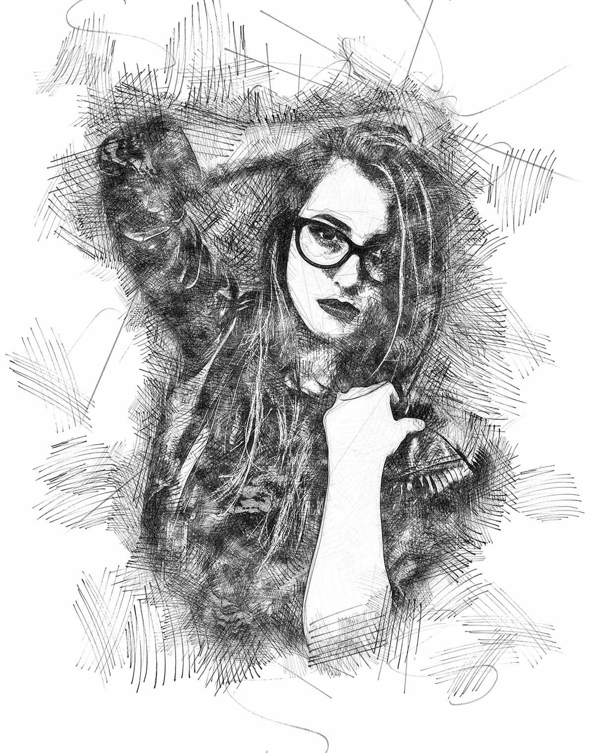 realistic-sketch-effect Felt-Pen Sketch Photoshop Action