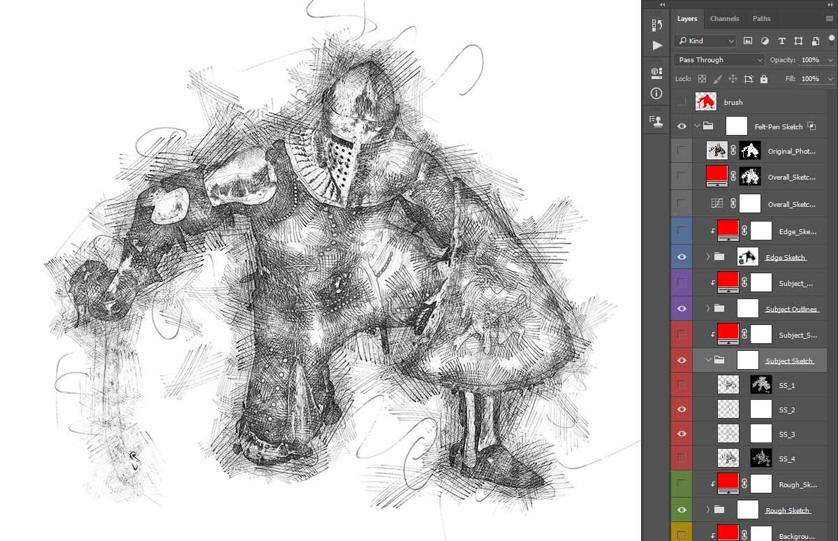 unique-result-sketch-photoshop-action Felt-Pen Sketch Photoshop Action