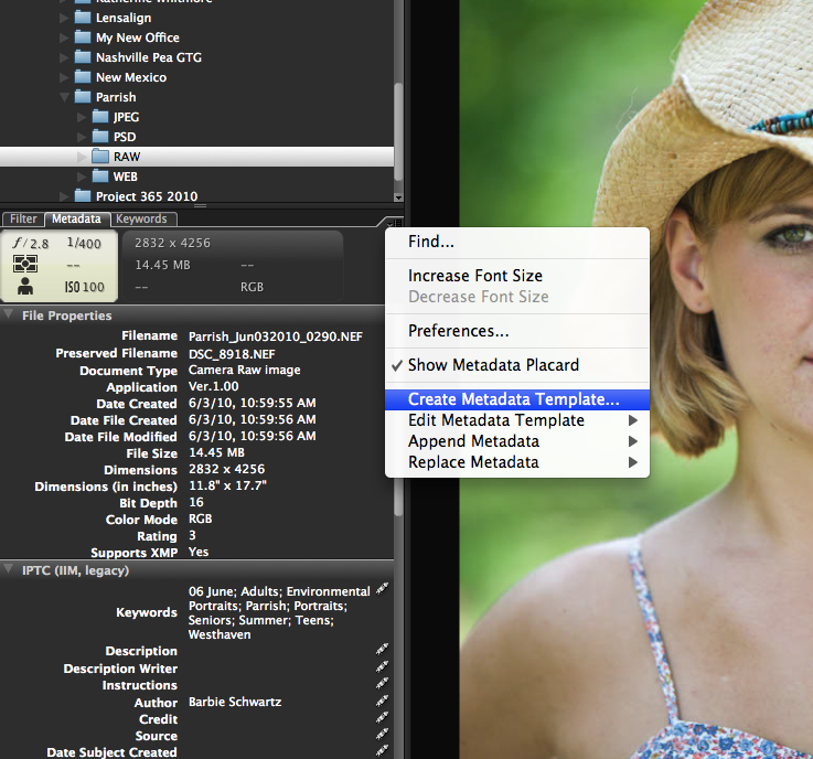 01-Create-Metadata-Template Digital Workflow Using Photoshop and Adobe Camera Raw and Bridge Guest Bloggers Photoshop Tips & Tutorials