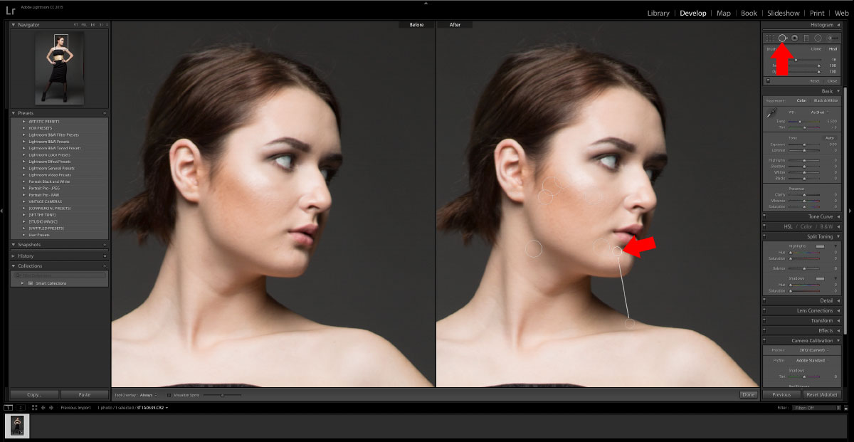 2-Spot-Removal-Tool How to turn studio shots into on location shots in just a few simple steps Activities Lightroom Presets Lightroom Tutorials Photoshop Tips & Tutorials