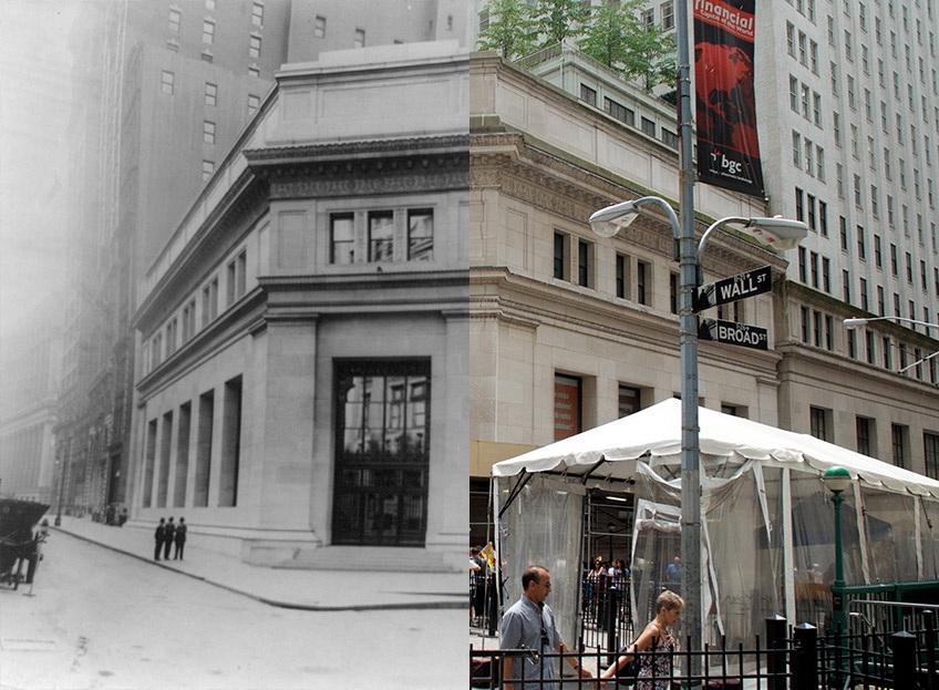 23-wall-street NYC Grid project consists of then-and-now New York City photos Exposure