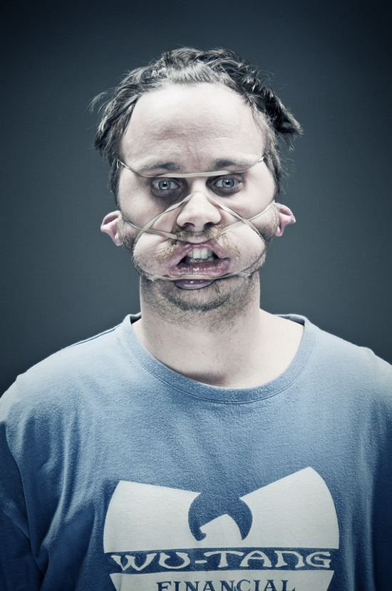 2bers-collin-troy Artists put rubber bands on their faces in painful photo shoot Exposure