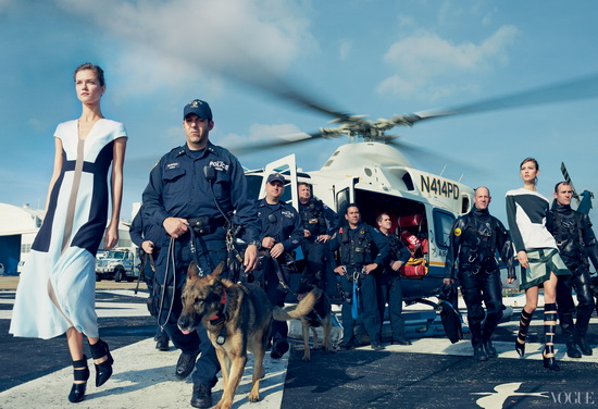 Air-NYPD Vogue controversial photo shoot celebrates Hurricane Sandy storm troupers News and Reviews