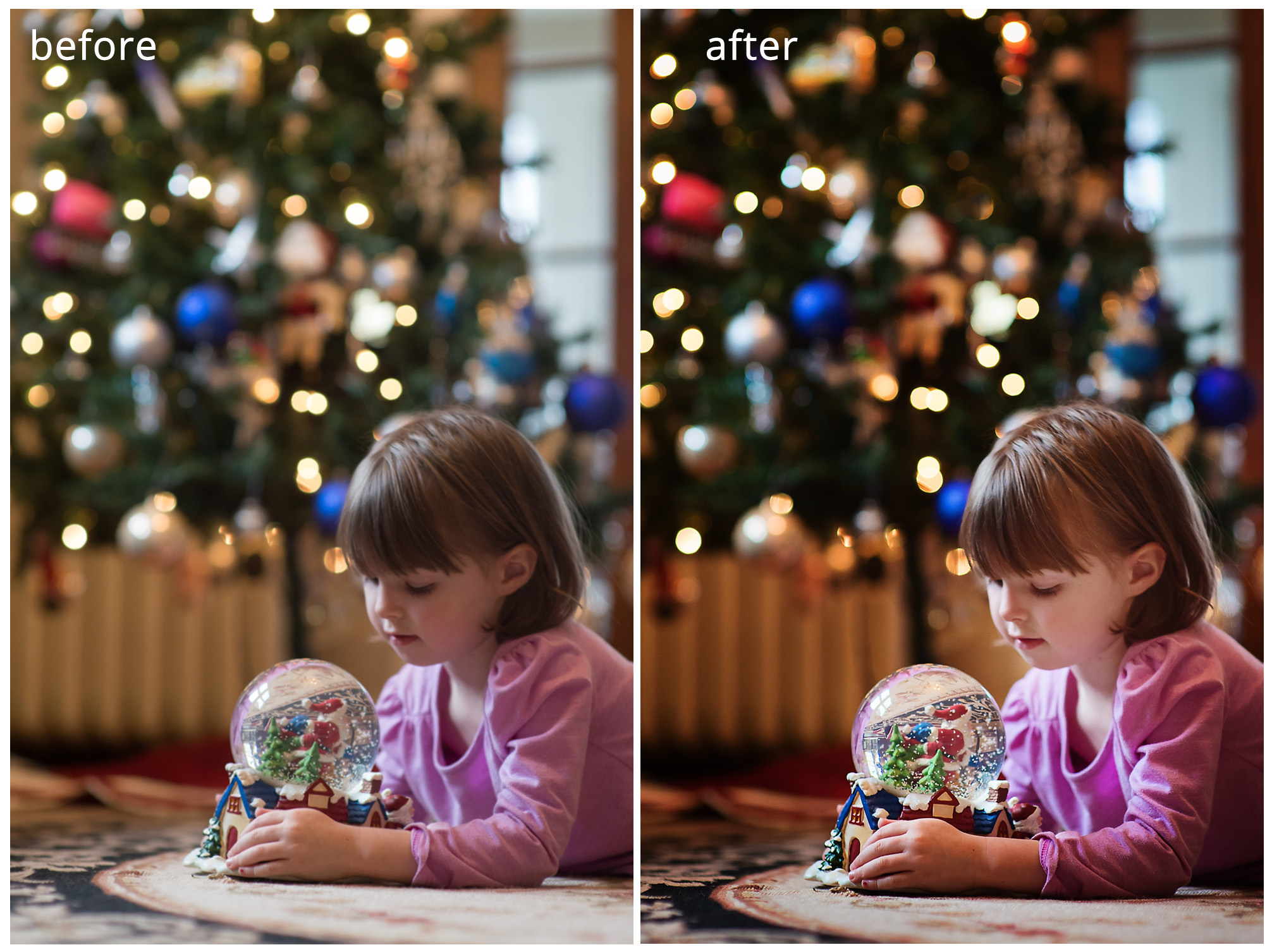 BeforeAfterChristmasTree 5 Tips for Photographing Your Child in Front of a Christmas Tree Guest Bloggers Photo Sharing & Inspiration Photography Tips Photoshop Tips & Tutorials