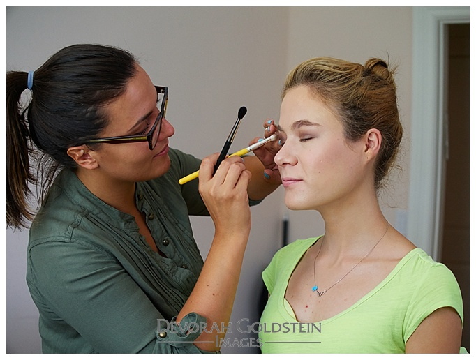 Makeup Artist Natalie Sky prepping model Kiah in the studio of Devorah Goldstein Images, Rockland County, NY