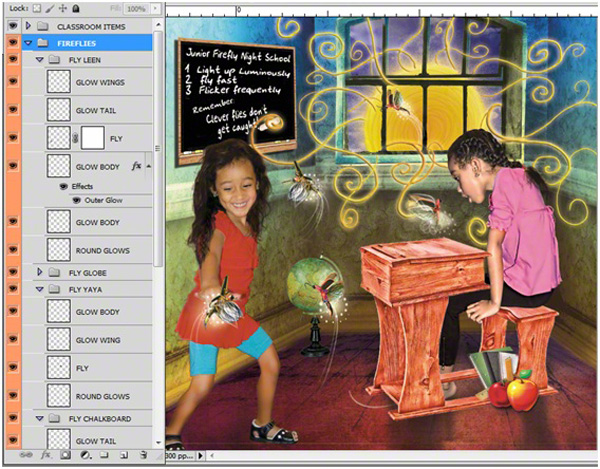 Classroom-with-fly-layers-600x469-digimarc 5 Key Steps for Creating Digital Collage Illustrations Blueprints Guest Bloggers Photoshop Tips & Tutorials Video Tutorials