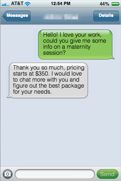 Fake-imessage-2 How to Keep Your Photography Prices Firm Business Tips Guest Bloggers