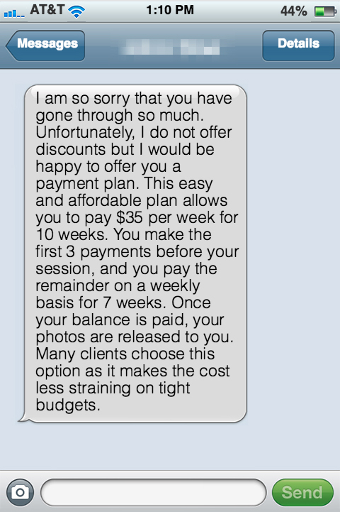 Fake-imessage-4 How to Keep Your Photography Prices Firm Business Tips Guest Bloggers
