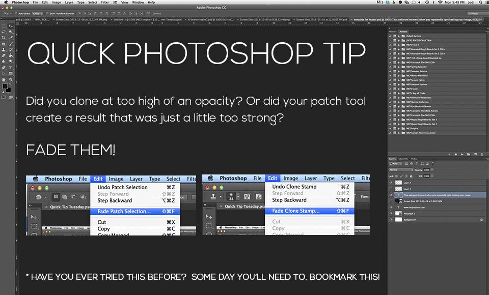 Quick-Tip-2 Avoid Over-Editing In Photoshop With This Quick Tip Photoshop Actions Photoshop Tips & Tutorials