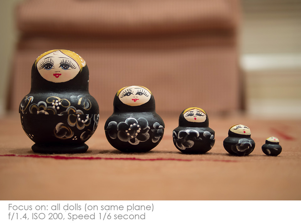Russian-Matryoshka-Dolls-1.4-same-plane Depth of Field: A Visual Lesson Activities Photography Tips