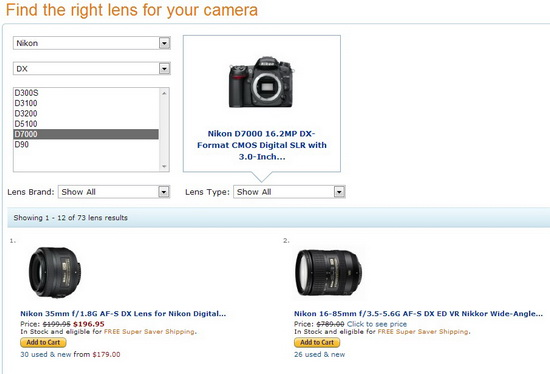 amazon-lens-finder-nikon-d7000 Camera shoppers can buy compatible lenses using Amazon Lens Finder News and Reviews